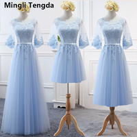 New Sky Blue Bridesmaid Dresses Lace Half Sleeve for Spring Autumn Outdoor Wedding Party Gown Formal Robe Demoiselle D'honneur
