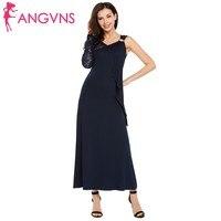 ANGVNS Party One Shoulder Long Maxi Dress Elegant Women V-Neck Lace Long Sleeve Ruffles Slim Formal Dress Wedding Robe Coaktail