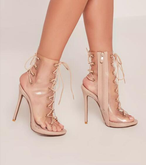 ФОТО hot selling transparent PVC lace-up ankle boots 2017 summer sexy open toe cutouts sandal boots thin heels gladiator boots