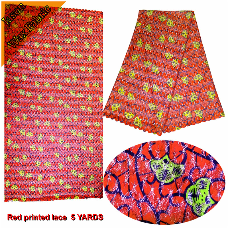 New arrival red printed lace 5 yards african lace fabric prints fabric for sewing cloth dress LBL