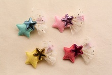 Wholesale 40pcs Fashion Cute Glitter Gauze Star Girls Hairpins Solid Kawaii PU Star Lace  Hair Clips Headware Hair Accessories