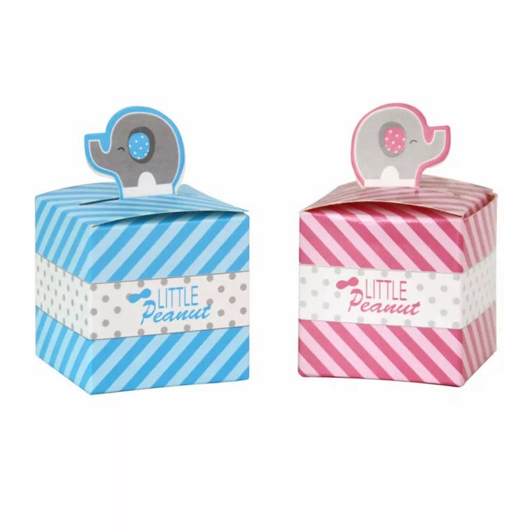 12pc Little Peanut pink blue Elephant favors Box Gifts Candy Boxes With Ribbon Baby Shower Wedding Event Party Supply