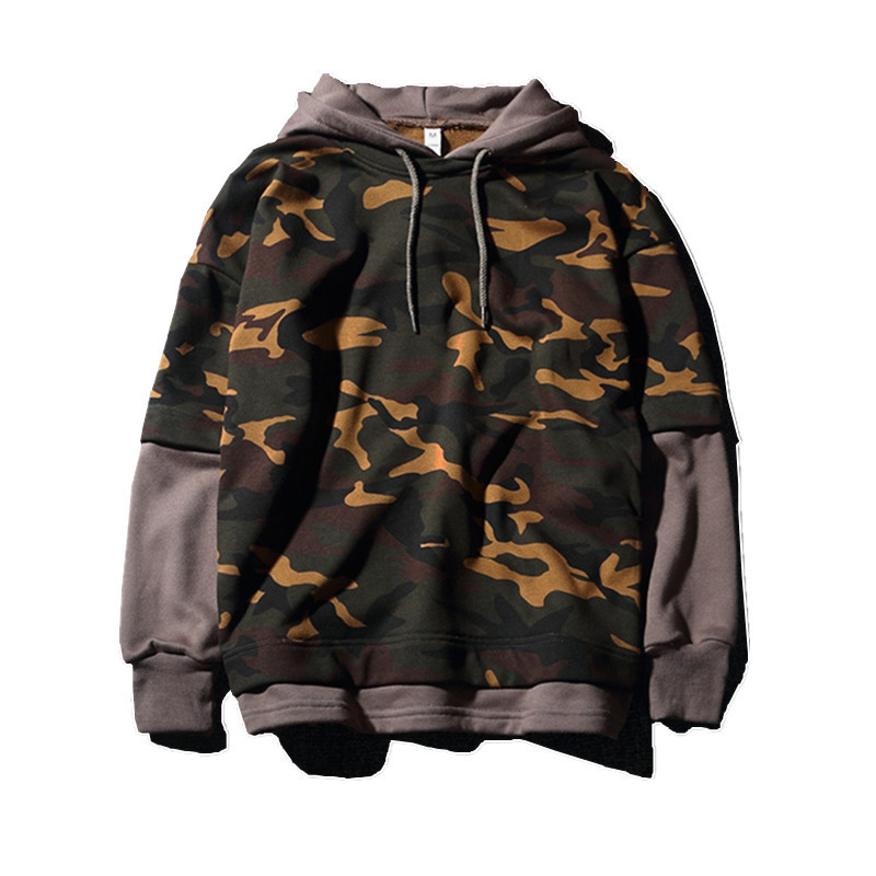 MORUANCLE Fashion Hi-Street Mens Hip Hop Hoodies With Hood Streetwear Camo Sweatshirts For Male Pullover Hoody Fake Two Pieces