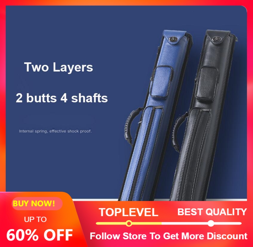 Two Layers PU Billiard Pool Cue Stick Kit Portable Case 2 Butts 4 Shafts 2 Butts