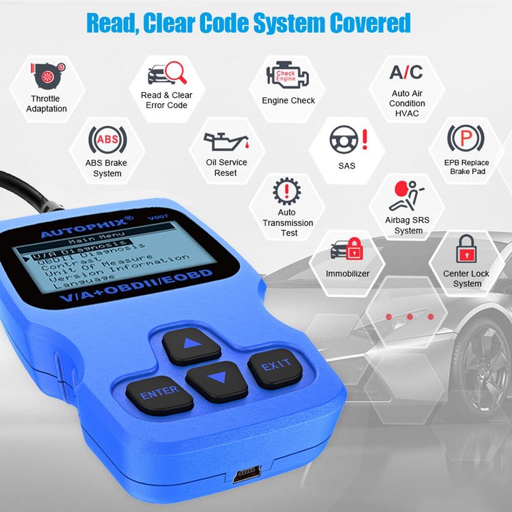 Autophix V007 Car Diagnostic Scanner for Golf Gol Passat A4 A6 Q7 ABS SRS  Oil Service Reset Tool OBD2 Automotive VAG Scanner ODB