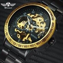 Montres mécaniques automatiques de luxe de marque officielle WINNER squelette 3D Design montre-bracelet classique tachymétrique à bracelet en acier