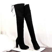 Black Gray Womens Micro Suede Thigh High Boots Block Thick Heel Stretch Over The Knee Boots
