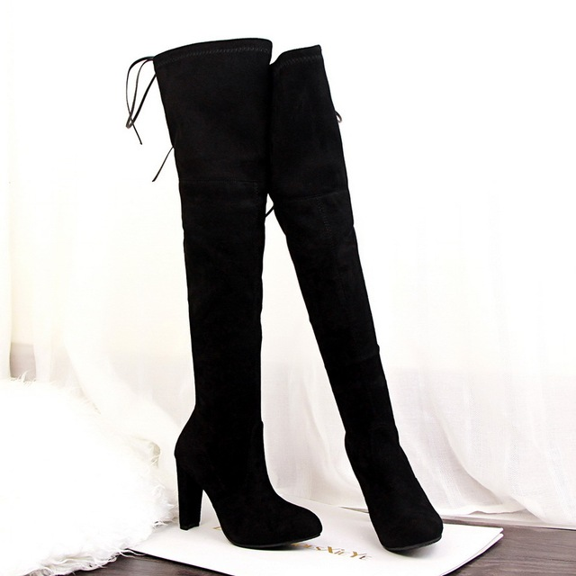 ce3e07663 Black Gray Womens Micro Suede Thigh High Boots Block Thick Heel Stretch Over  the Knee Boots