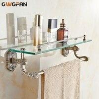 Bathroom Shelves Tempered Glass Shelf Brass Gold Towel Bar Shampoo Cosmetic Racks Carved Bathroom Accessories Wall Holder 3314
