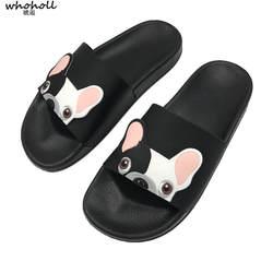 WHOHOLL Для женщин Летние тапочки милые Пёс из мультфильма обувь женские туфли на плоской подошве шлепанцы удобные шлепанцы женская обувь