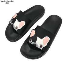 WHOHOLL Women Summer Slippers Cute Cartoon Dog Shoes Female Flat Slides Comfortable Flip Flops Shoes Ladies Casual Girl Slippers