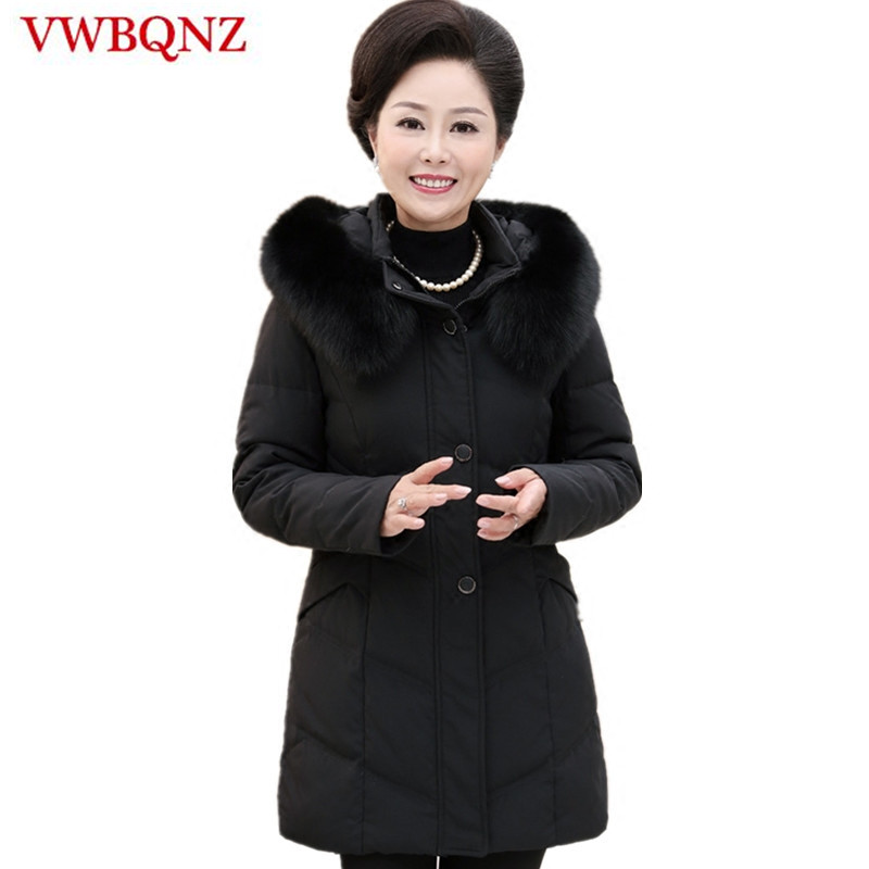 Big fur collar   Parka   Winter Jacket Women Outerwear Large Size 9XL Middle-aged Mother Loose Down Hooded Coat Solid Warm Overcoat