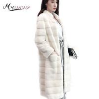 M.Y.FANSTY Winter 2019 Import Real Natural Mink Fur Coats Women's Mandarin Collar Swan Velvet Olive Green Long Sleeve Mink Coats