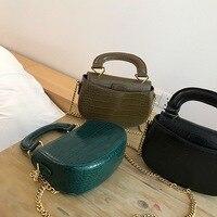 Crocodile Pattern Mini Saddle bag Women Top handle Retro Chic Purses Handbags Tiny Mini Lady Alligator Pattern Design Shell Bag