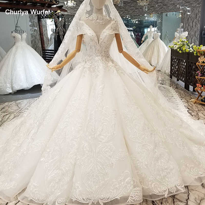 LS650017 luxury wedding gown like white with collar chain off shoulder wedding dresses with wedding veil factory free shipping