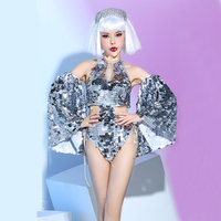 The new bar nightclub night singer dj dance team d sexy silver big sequin backless stage costumes