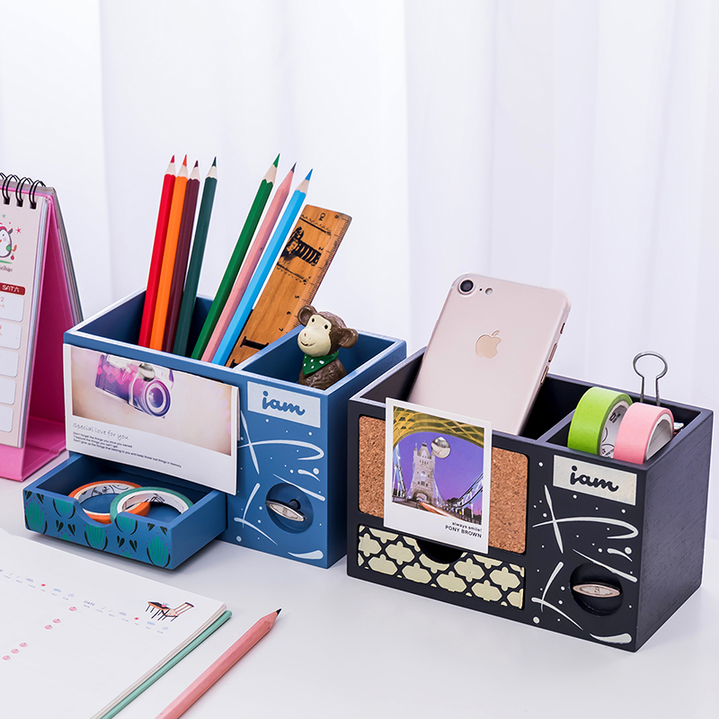 M&G Creative stationery multi function pencil Holder with music box students home office desktop pen box with wood photo frame.