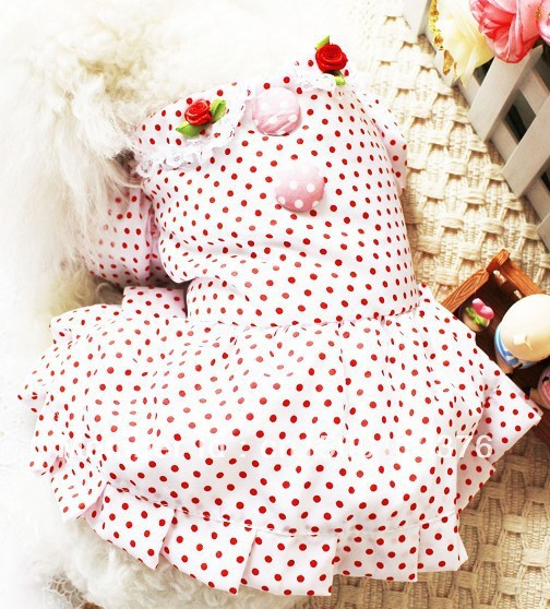 New White Pink Cute Pet Dogs Dress With Small Rose Dogs Dress Free Shipping Dress For Dog