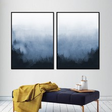 Abstract Blue and White Bedroom Wall Art Canvas Painting Foggy Forest Landscape Posters Print Picture for Living Room Home Decor(China)