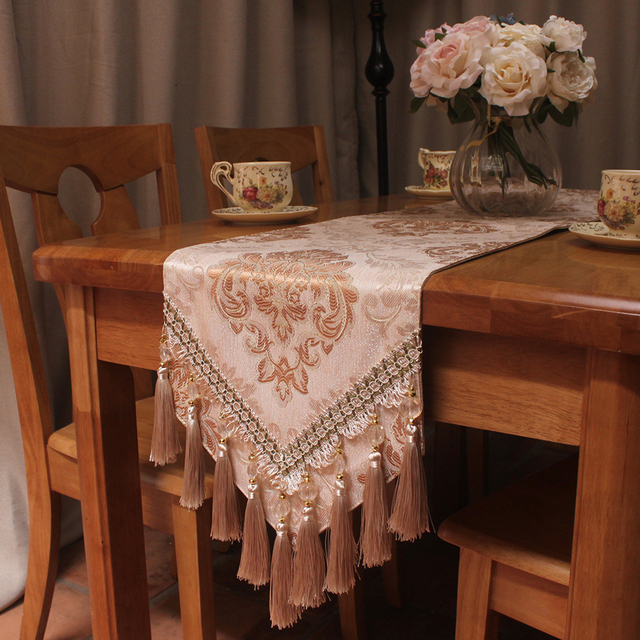 CURCYA Wedding Decoration Luxury Jacquard Light Brown Table Runner 30x200cm  Handmade Elegant European Floral Table Runners