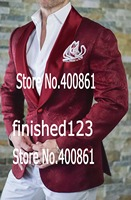 High Quality Burgundy Paisley Mens Suits Groom Tuxedos Groomsmen Wedding Party Dinner Best Man Suits Jacket