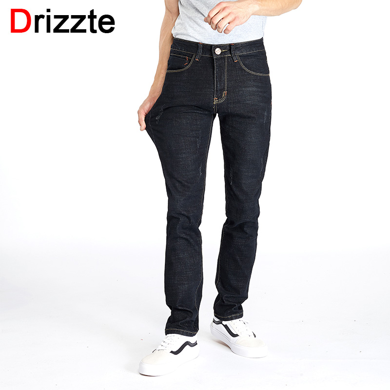 Drizzte Mens Jeans Slim Stretch Denim Men Jeans Trousers Black Brand Casual Jean for Plus Size Mens