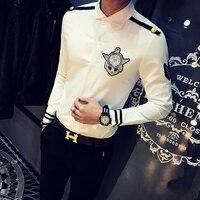 2017 Autumn New Shirt Men Fashion Flight Attendants Uniform Slim Fit Mens Casual Shirts Long Sleeve