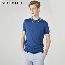 SELECTED Mens Summer Silk Linen Turn down Collar Short sleeved Poloshirt S