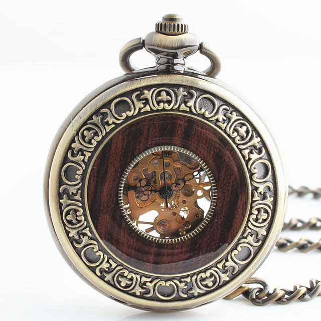 Antique Bronze Wooden Mechanical Pocket Watch With Pendant Chain Roman Number Di
