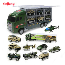 1:64 Diecast Car Model Big Truck & 10PCS Alloy Car Toy Vehicle Simulation Military Vehicle Helicopter For Children Boys Gifts }