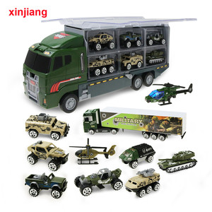 Image 1 - 1:64 Diecast Car Model Big Truck & 10PCS Alloy Car Toy Vehicle Simulation Military Vehicle Helicopter For Children Boys Gifts }