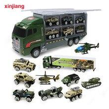 1:64 diecast modelo de carro caminhão grande & 10 pces liga carro brinquedo veículo simulação militar veículo helicóptero para crianças meninos presentes}