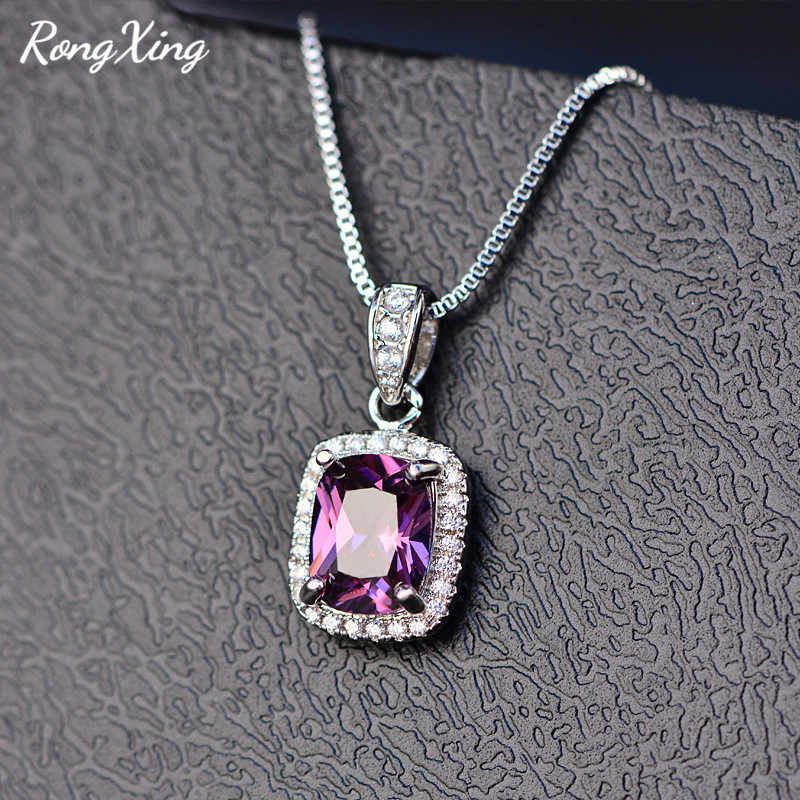 RongXing Charm Multicolor Birthstone Pendants Necklaces For Women 925 Sterling Silver Filled Blue/Purple Zircon Necklace HP067
