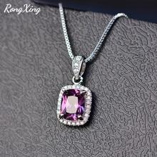 RongXing Charm Multicolor Birthstone colgantes collares para mujeres 925 Plata de Ley relleno azul/púrpura circón collar HP067