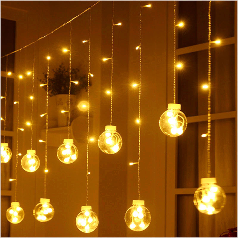 все цены на Creative Mulitcolor 3M 12LED Bubble Glass Ball String light 220V EU/US Plug Decoration Christmas Flashing String Curtain Lights онлайн