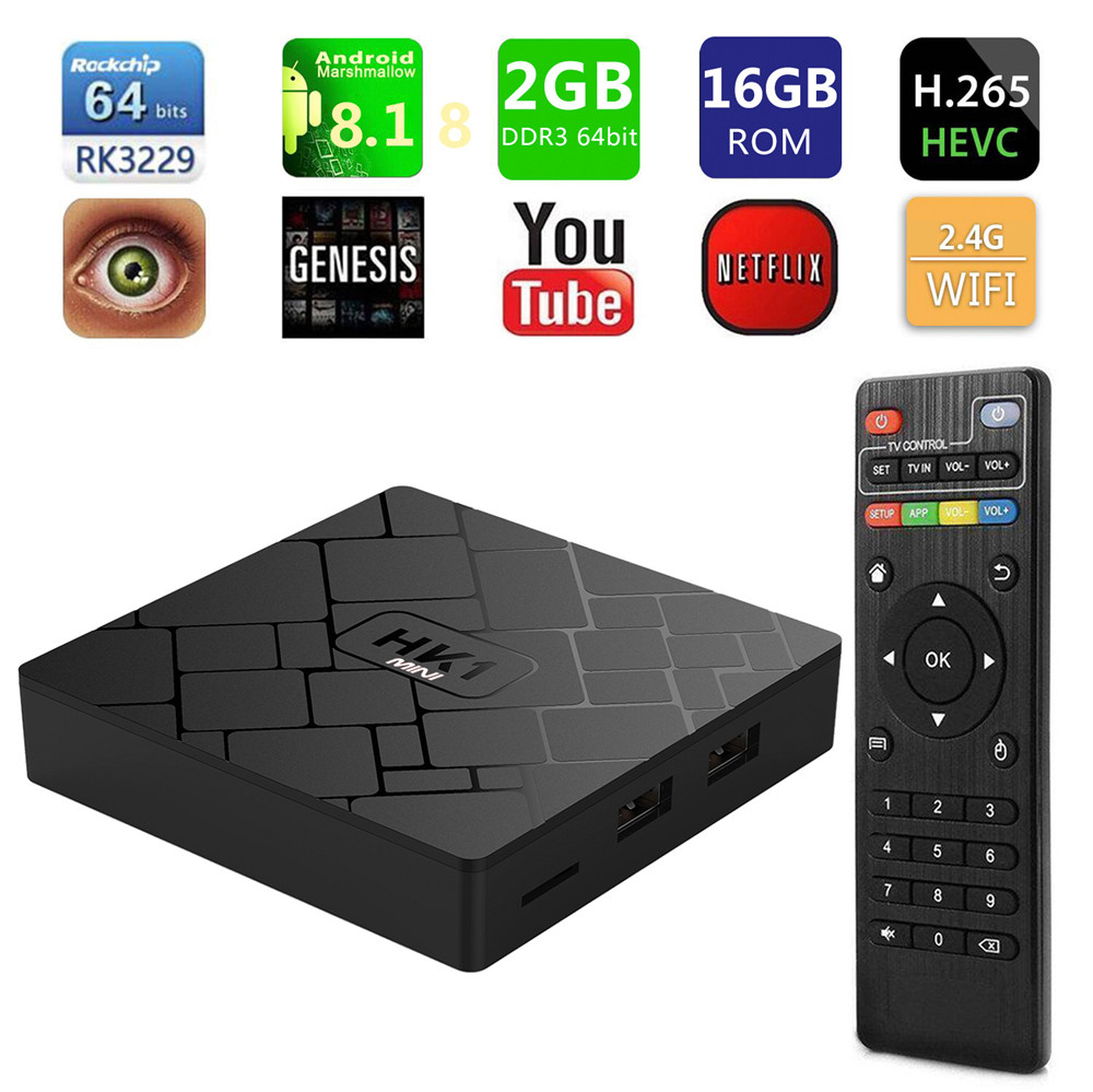 HK1 mini Smart TV BOX Android 8.1/Android 9.0 2GB + 16GB RK3229 Quad-Core WIFI 2.4G 4K 3D HK1mini Google Netflix décodeur