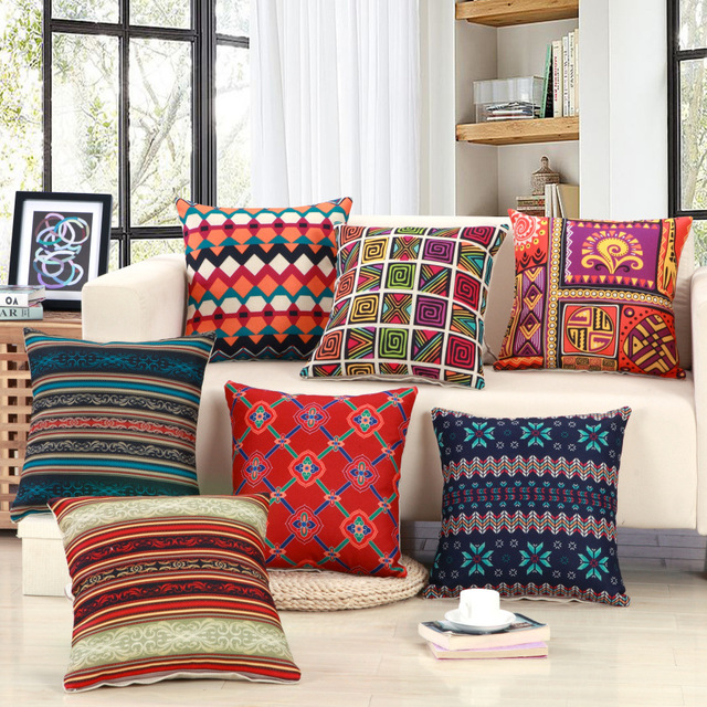 Geometric Striped Pattern Cushion Covers Arab Style Vintage Decorative  Pillows Cotton Linen Chair Sofa Seat Square