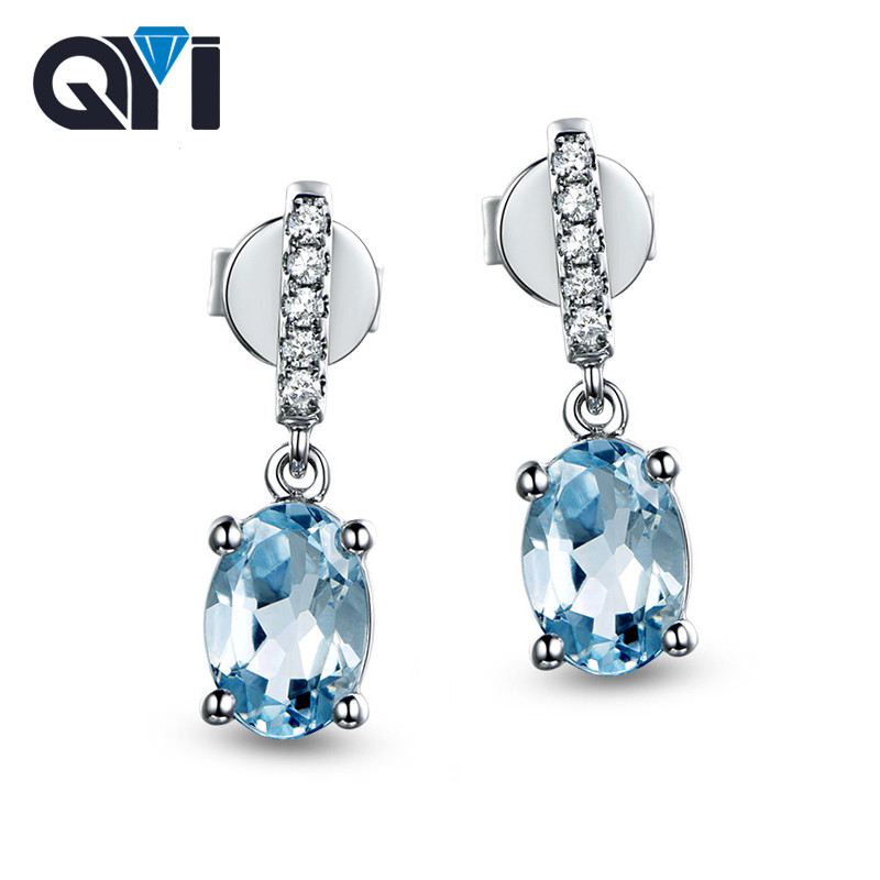 QYI Trendy 925 Sterling Silver Topaz Dangle Earrings 2.5 ct Oval Cut Sky Blue Topaz Gemstone Anniversary Earrings for Women stylish silver plated cut out rhinestone heart earrings for women