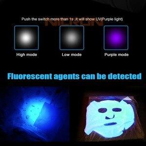 Image 3 - NICRON магнит 90 градусов поворот UV/белый 2 Цвет Перезаряжаемые фонарик 18650 2500 мА/ч, литий ионный аккумулятор Батарея 5 Вт 80 м Луч расстояние B75