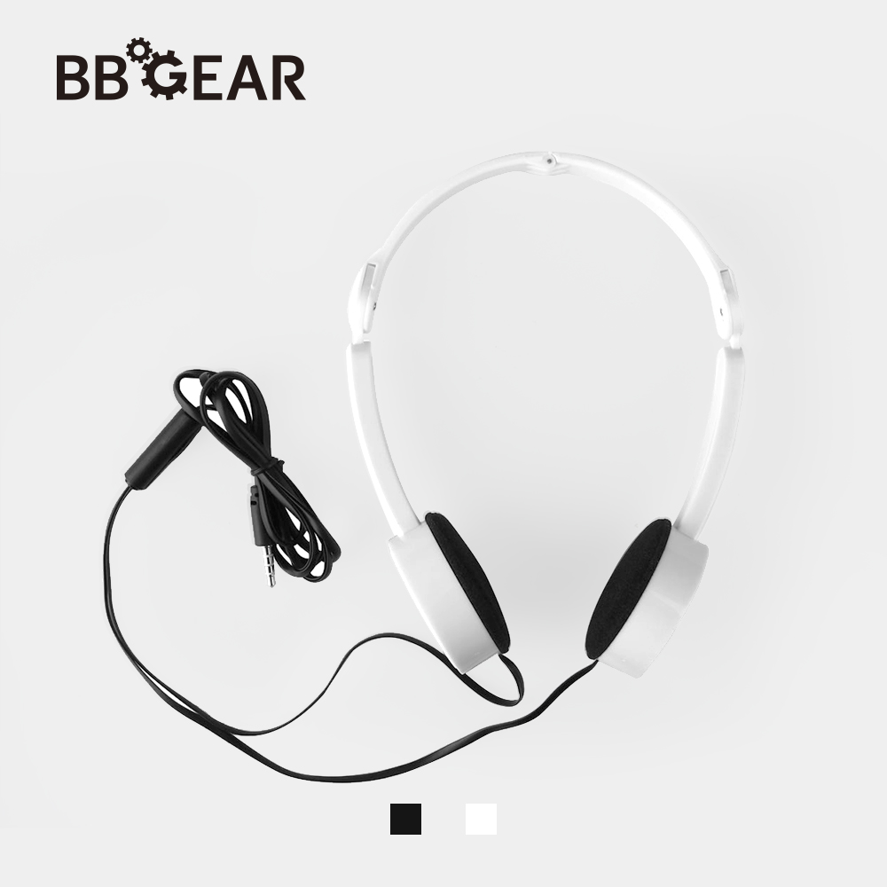 BBGear Portable 3.5mm Wired Headphone Foldable Cartoon Headband Headphones with Mic Wire Control Earphone for MP3 Music Headsets