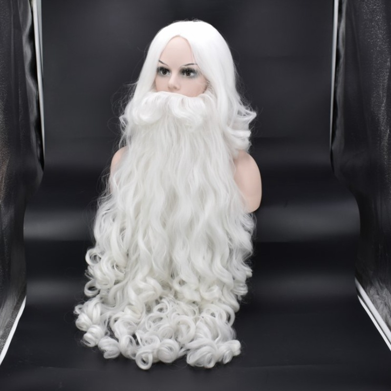 Christmas Gift Santa Claus Wig And Beard Synthetic Hair Short Cosplay Wigs For Men White Hairpiece Accessories Santa Beard