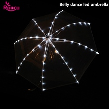 Ruoru Belly Dance White LED Umbrella Colorful Flashing Accessories Stage Performance Props Shining Led Light Up