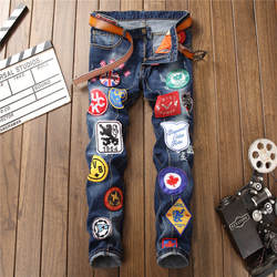 Модные мужские джинсы в европейском и американском стиле с дырками, с вышивкой, синие мужские брюки, джинсы на молнии, роскошные брендовые