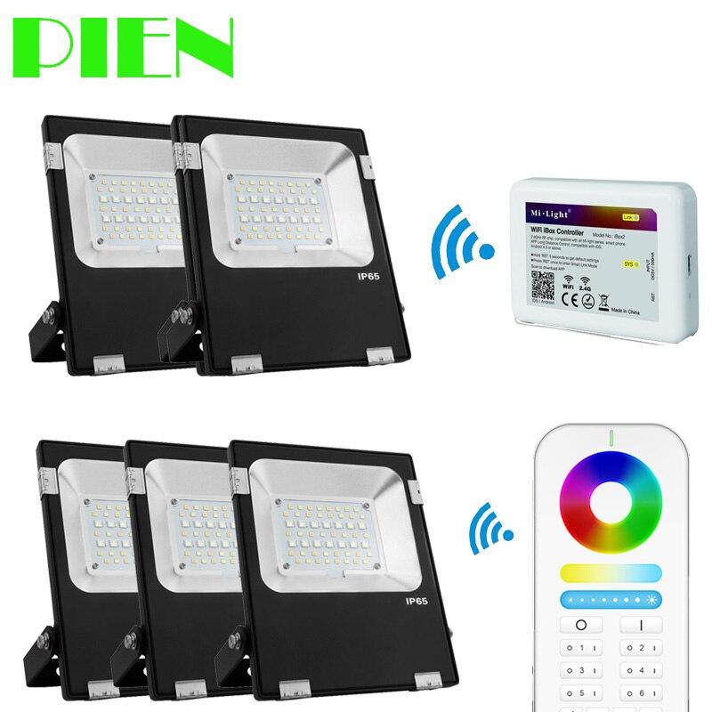 Wi-Fi Прожекторы RGB CCT напольный внимания Водонепроницаемый снаружи 10 Вт 30 Вт 50 Вт + 2.4 г 6 Группа RF Remote + WiFi концентратор по DHL 5 шт.
