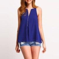 New Brand V Neck Bandage Summer Chiffon Blouses Soild Polyester Shirt Sexy Sleeveless Open Back Women