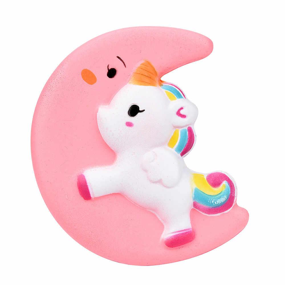 11 см Kawaii Moon уход за кожей лица Единорог Лошадь Радуга мягкими замедлить рост мягкие для сжатия ремень Декор торт хлеб подарок игрушка для малыша оптовая продажа