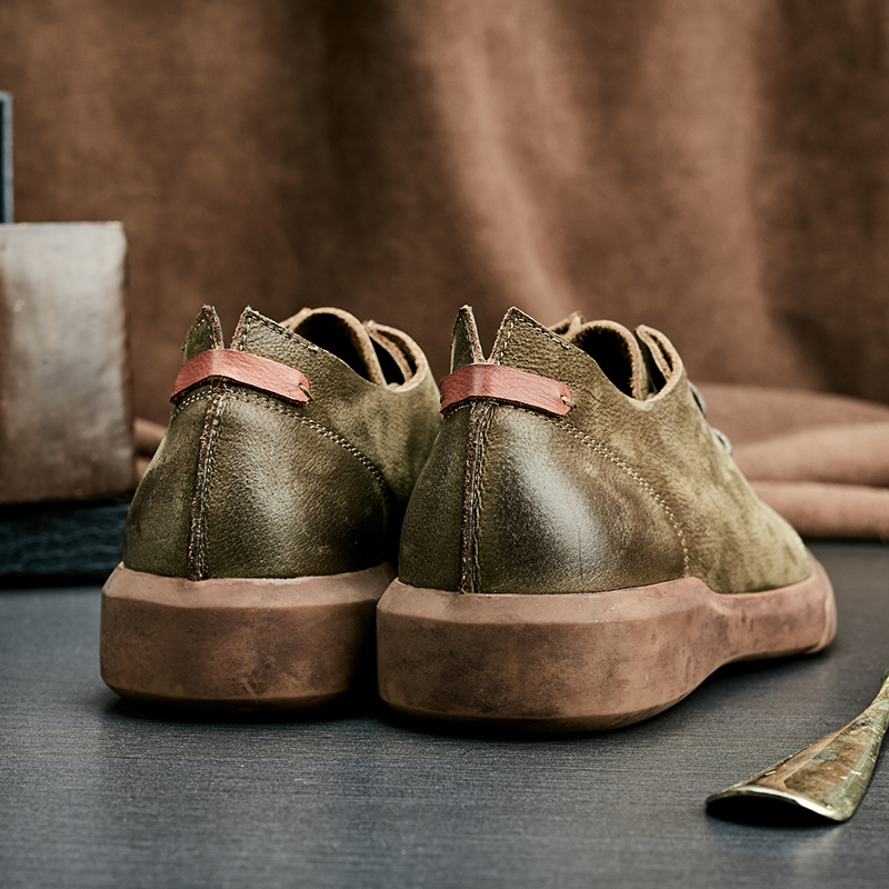 Épaisse Noir Mycolen Haute Vintage Mâle Casual Hommes Confort Semelle Britannique Classique Chaussures Qualité Green D'affaires Style army r66qRTz