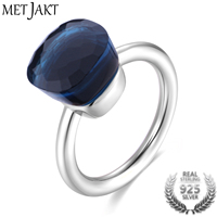 MetJakt Fashion Blue Topaz Ring and Natural Agate Solid 925 Sterling Silver Rings for Women's Wedding Party Best Fine Jewelry