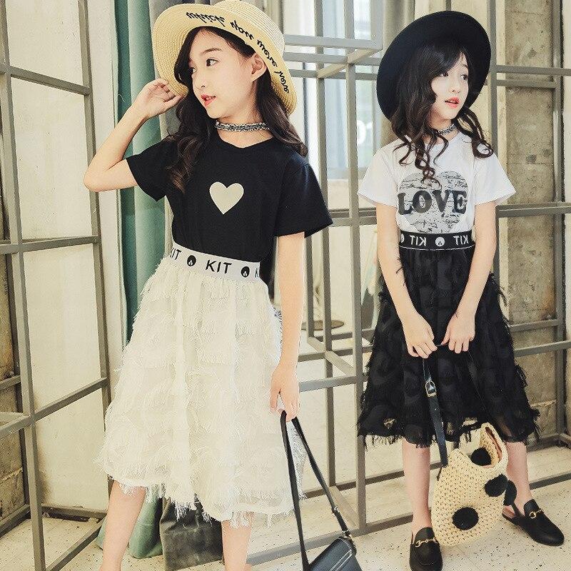 Summer Girls Suit 2019 Kids Clothing Set Teen Girls Clothes Set Casual Costume For Girls 6 8 12 Years White T-Shirt+Skirt 2 Pcs girl