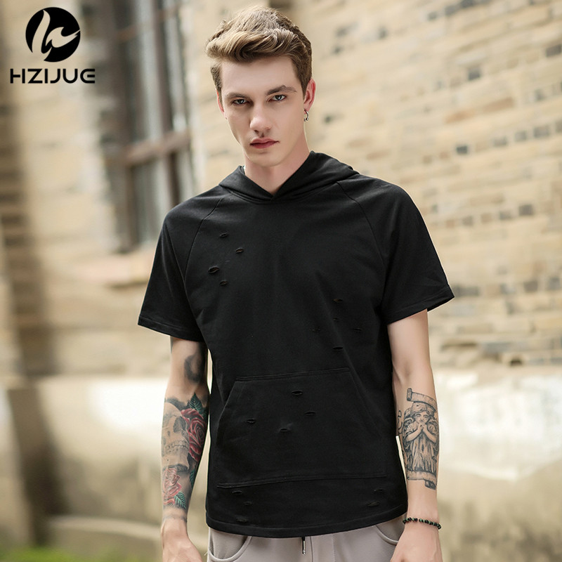 adcb3adfbe85 ... Hole Loose Casual Tops Fashion Summer T-shirt Streetwear Hooded Tshirt.  The t shirt is Asian size